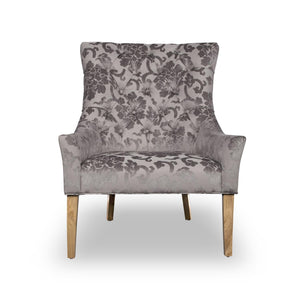 Magda Baroque Velvet Accent Chair, Mink
