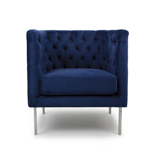 Meghan Square Brushed Velvet Accent Chair, Indigo Blue