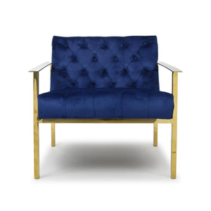 Royalty Brushed Velvet Armchair, Indigo Blue