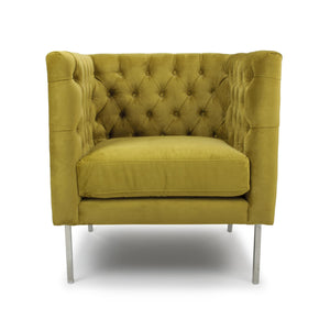Meghan Square Brushed Velvet Accent Chair, Mustard