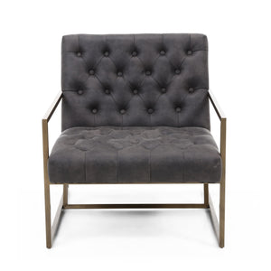 Kendra Suede Effect Armchair, Charcoal Grey