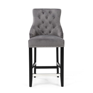 Ellie Ring Back Brushed Velvet Bar Chair, Silver Grey