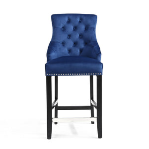 Ellie Ring Back Brushed Velvet Bar Chair, Midnight Blue