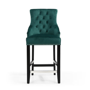 Ellie Ring Back Brushed Velvet Bar Chair, Sea Green