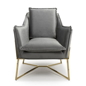 Ophelia Mid Century Armchair, Grey Suede Effect with Gold Legs