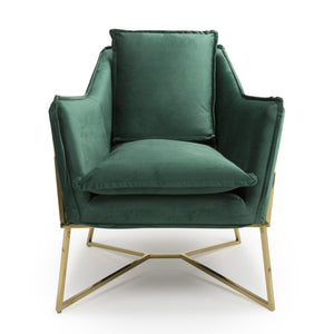 Ophelia Mid Century Armchair, Green Suede Effect with Gold Legs