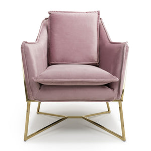 Ophelia Mid Century Armchair, Blush Pink Suede Effect with Gold Legs