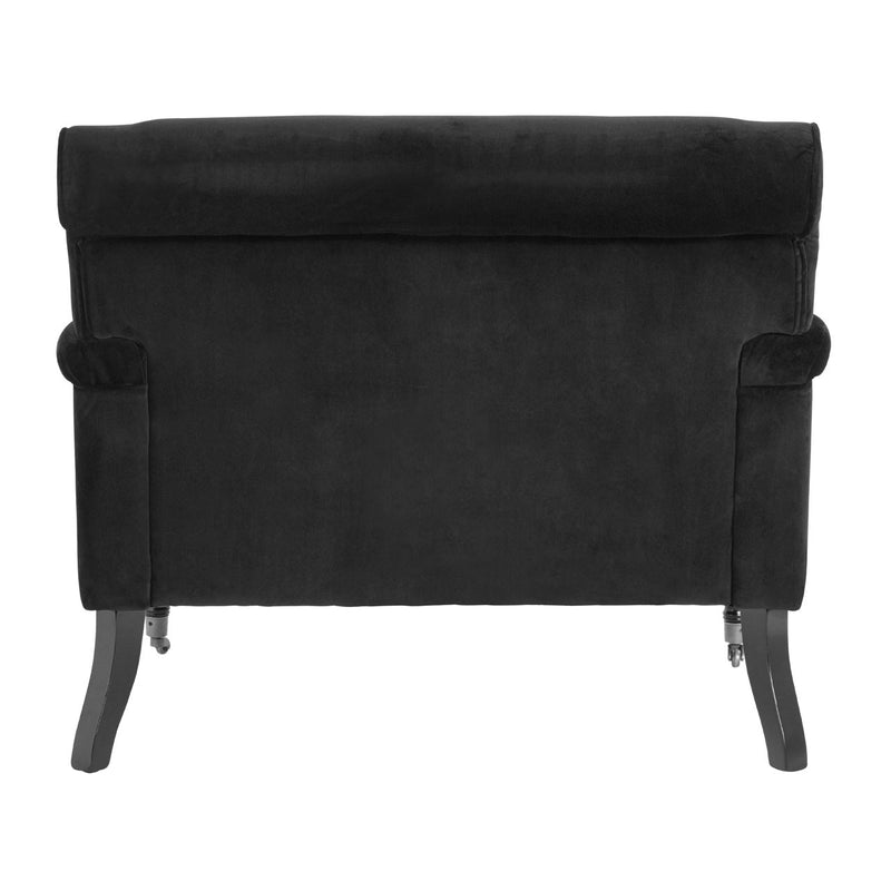 Sasha Plush Velvet Armchair, Black
