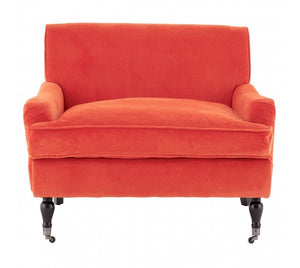 Sasha Plush Velvet Armchair, Orange