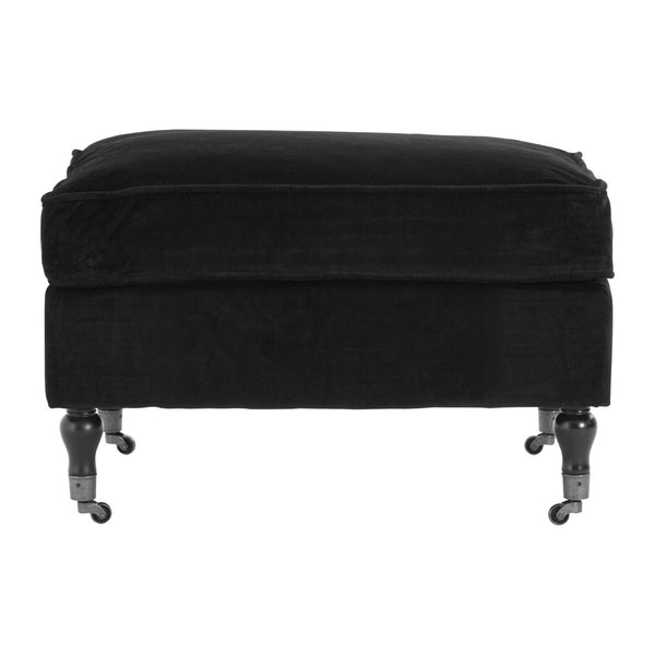 Sasha Plush Velvet Footstool, Black