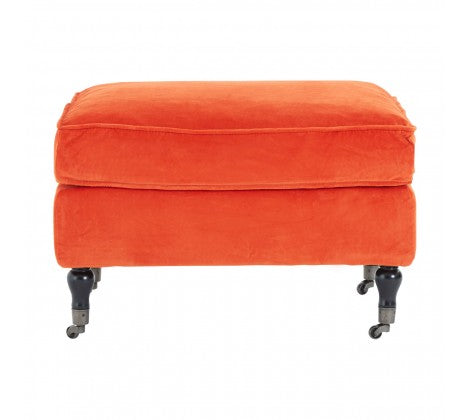 Sasha Plush Velvet Footstool, Orange