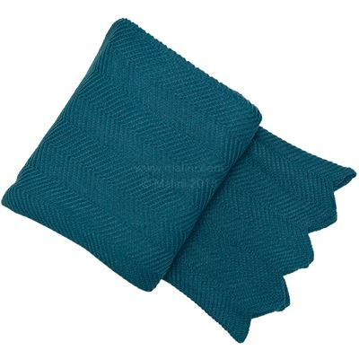 Herringbone Throw, Luxurious Teal