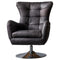 Harrington Leather Swivel Chair, Distressed Ebony