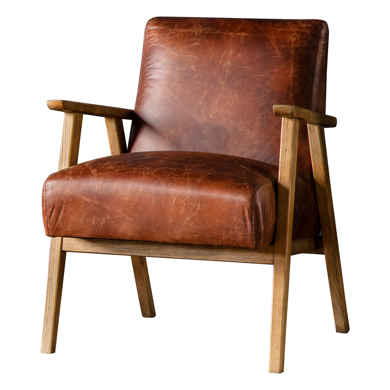 Rupert Leather Armchair, Vintage Tan