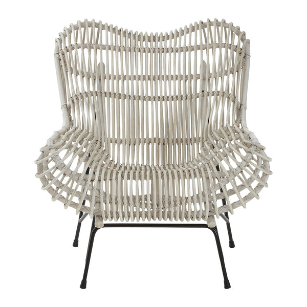 Willow Summer Chair, White Rattan / Iron