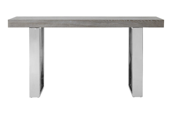Evelyn Console Table, Grey Elm Wood / Stainless Steel