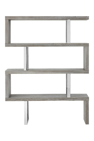 Evelyn 4 Tier Bookshelf, Grey Elm Wood / Stainless Steel