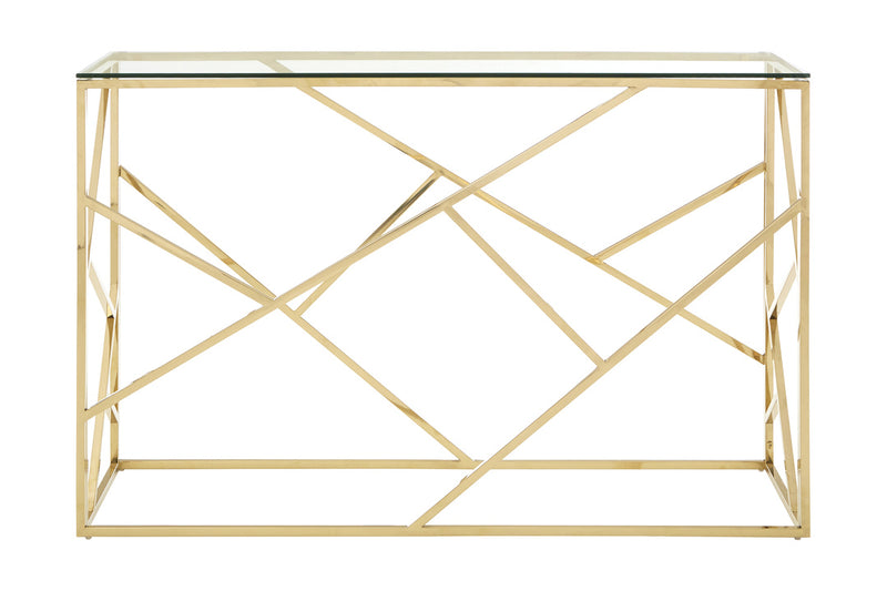 Esther Console Table, Champagne Gold