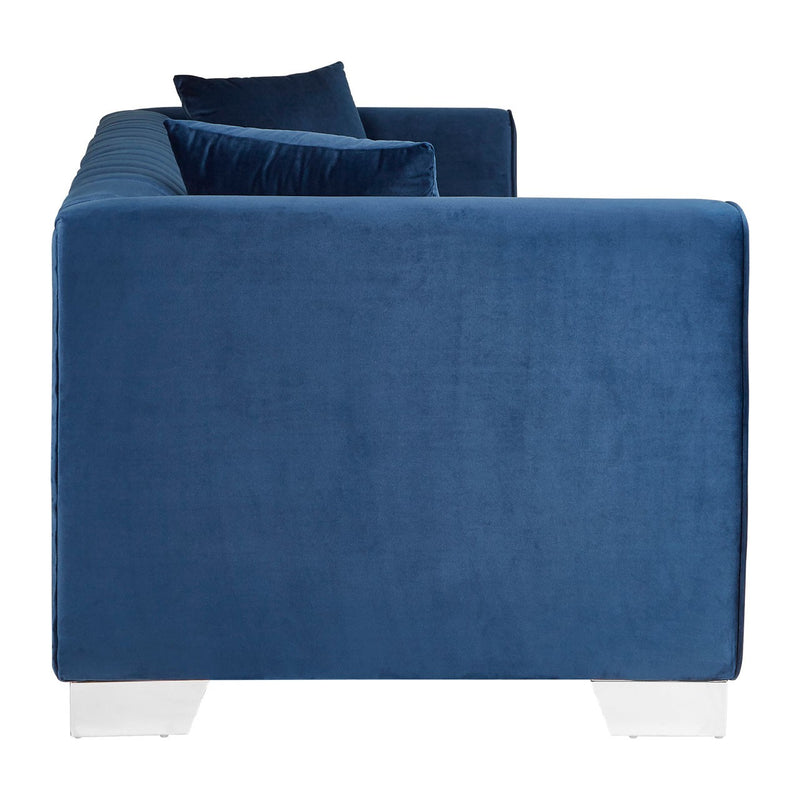 Aisha 3 Seater Sofa, Deep Blue Velvet