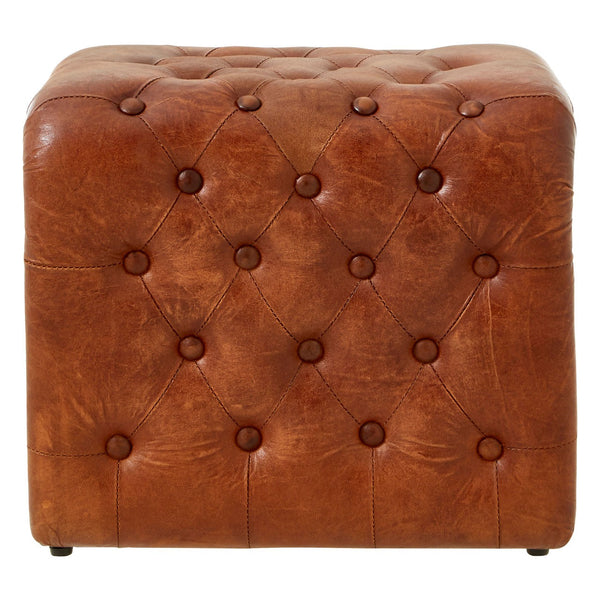 Dolly Leather Buttoned Stool, Antique Brown