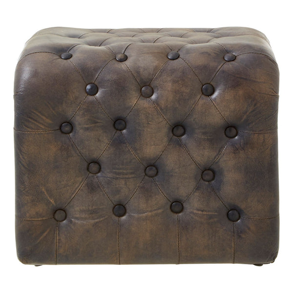 Dolly Leather Buttoned Stool, Antique Blue
