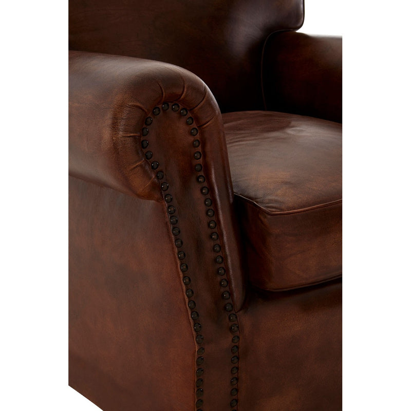 Dolly Leather Club Chair, Antique Dark Brown