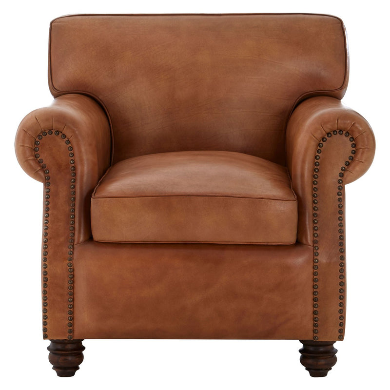 Dolly Leather Club Chair, Antique Tan