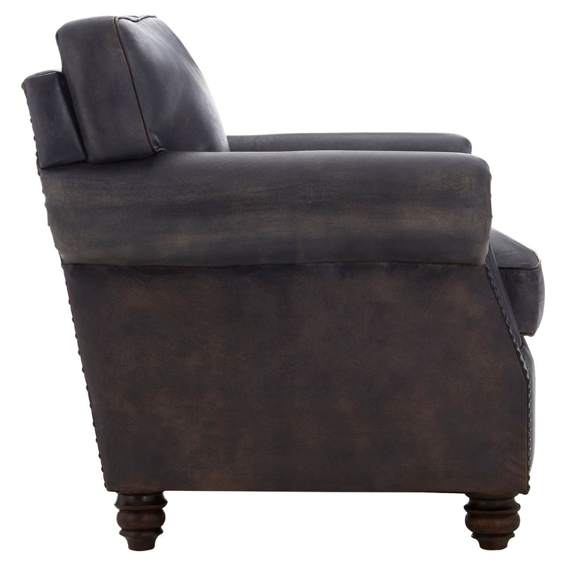 Dolly Leather Club Chair, Antique Blue