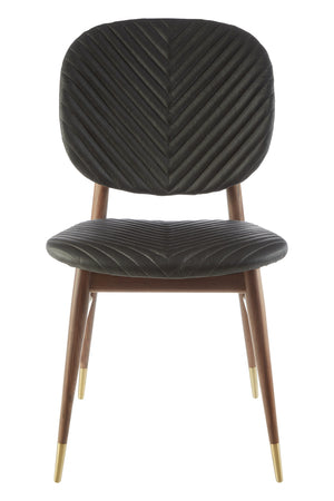 Joanne Walnut Dining Chair, Black Leather / Brass