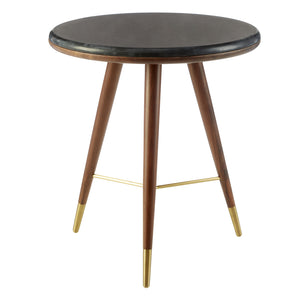Joanne Walnut Side Table, Black Marble / Brass