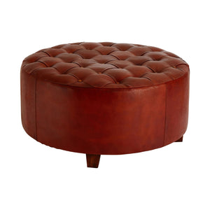 Ashley Pouffe, Brown Antique Leather