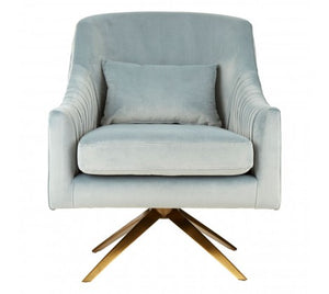 Morag Velvet Accent Chair, Light Blue