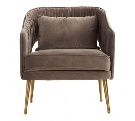 Morag Velvet Arm Chair, Grey