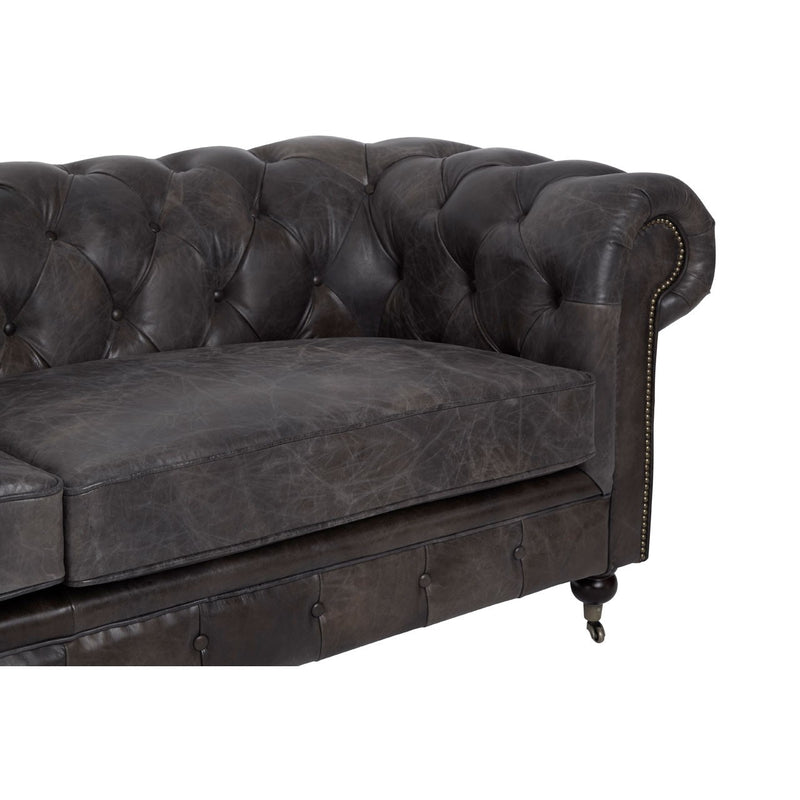 Victoria 3 Seater Sofa, Grey Aged Leather
