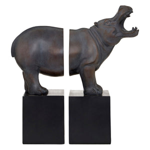 Hippo Bookends, Bronze