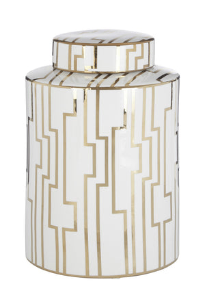 Viola Large Ceramic Jar, White / Gold