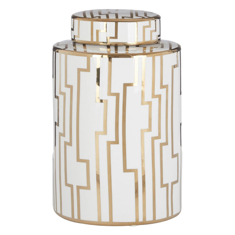 Viola Small Ceramic Jar, White / Gold
