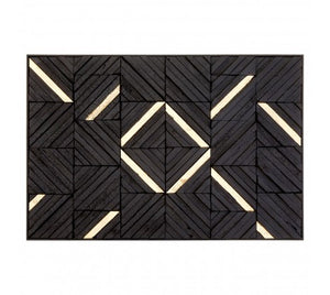 Dahlia Wooden Panel Wall Art, Black / Gold