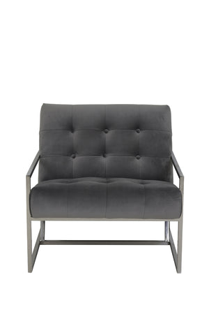 Hilda Modern Accent Chair, Space Grey / Chrome