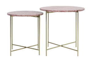 Darcy Side Tables, Set of 2, Gold / Pink Marble