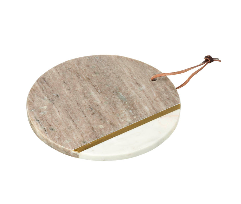 Davina Round Cutting Board, White / Natural Marble