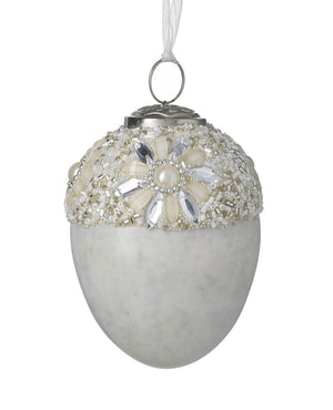 Beaded Bauble, White / Silver