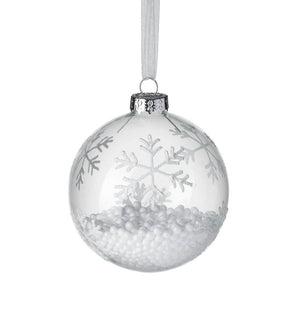 Snowflake Filled Bauble, Clear / Silver
