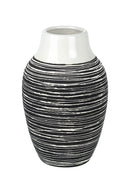 Roberta Small Ceramic Vase, Black / White