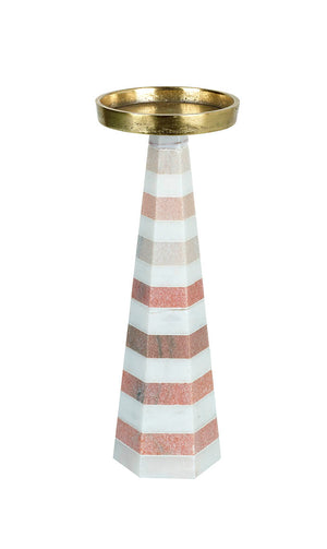 Luxe Candlestick, Pink / White Marble