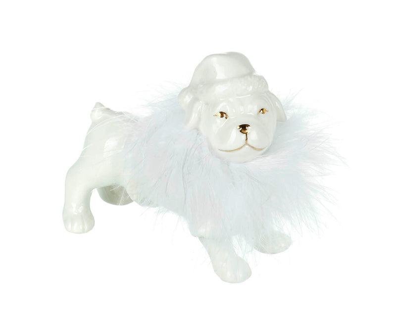 Fluffy Santa Bulldog , White / Gold Porcelain