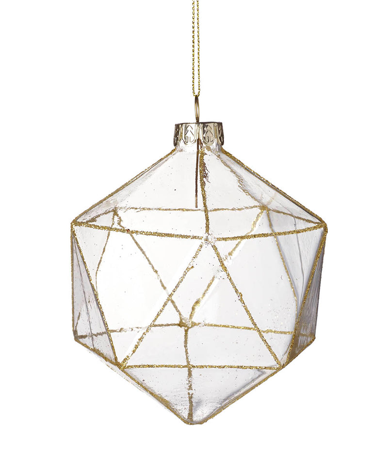Prism Bauble Glass, Clear / Gold