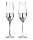 Kylie Champagne Flutes, Clear / Silver, Set of 2