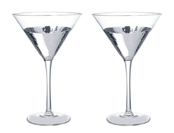 Kylie Cocktail Glasses, Clear / Silver, Set of 2
