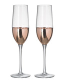 Kylie Champagne Flutes, Clear / Rose Gold, Set of 2